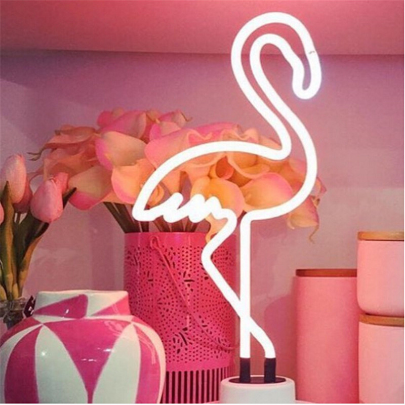 Handcrafted Glass Tube Flamingo Neon Lamp Dc 5v Usb Cable Power Supply Retro Decorative Neon Lamp