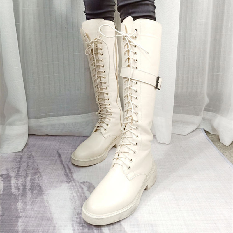 Women's High Boots 2019 Winter PU Leather Fashion Lace Up Female Long Boot Women Boots Knee High White Black Woman Winter Boot