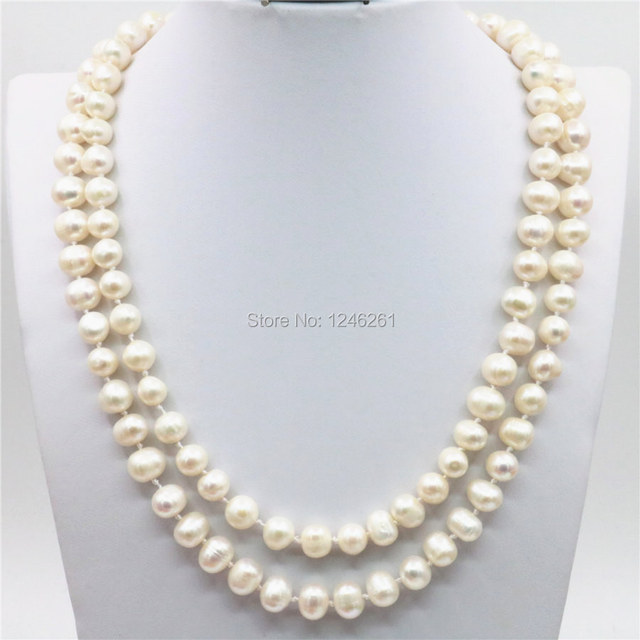 Accessories White Natural Freshwater Pearl Lucky Beads 2ROWS Necklace Chain DIY Jewelry Making Design Women Girls Gifts 7-8mm