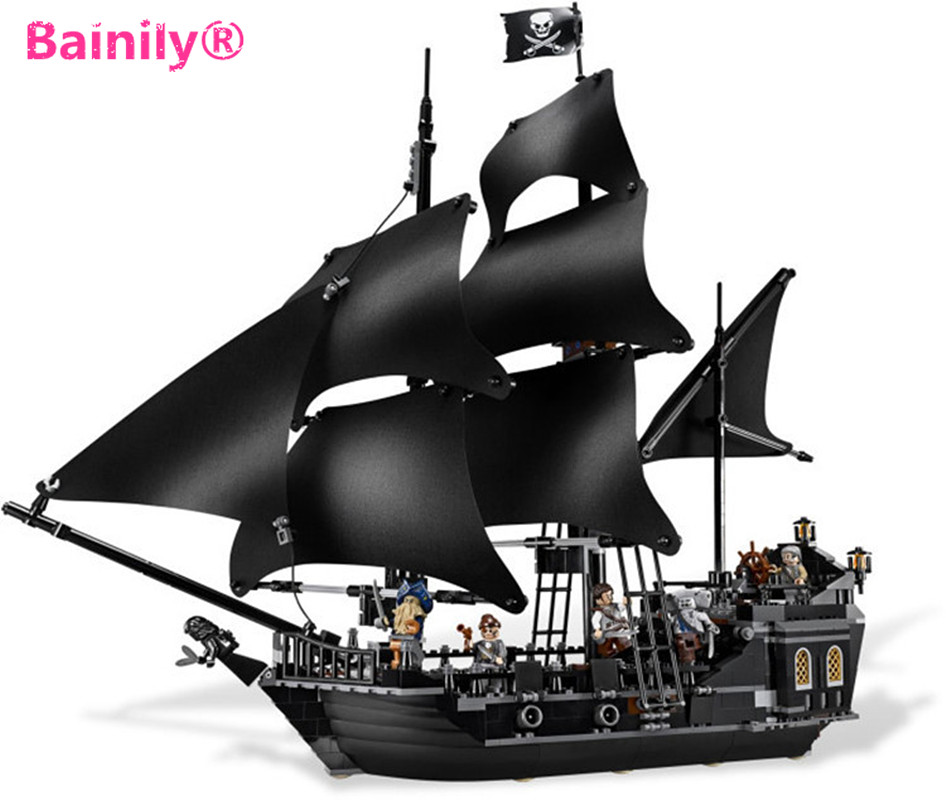 [Bainily] New Arrival 804Pcs Pirates of the Caribbean Moive Captain Jack Pirate Ship The Black Pearl Building Blocks DIY Toys pirate jack