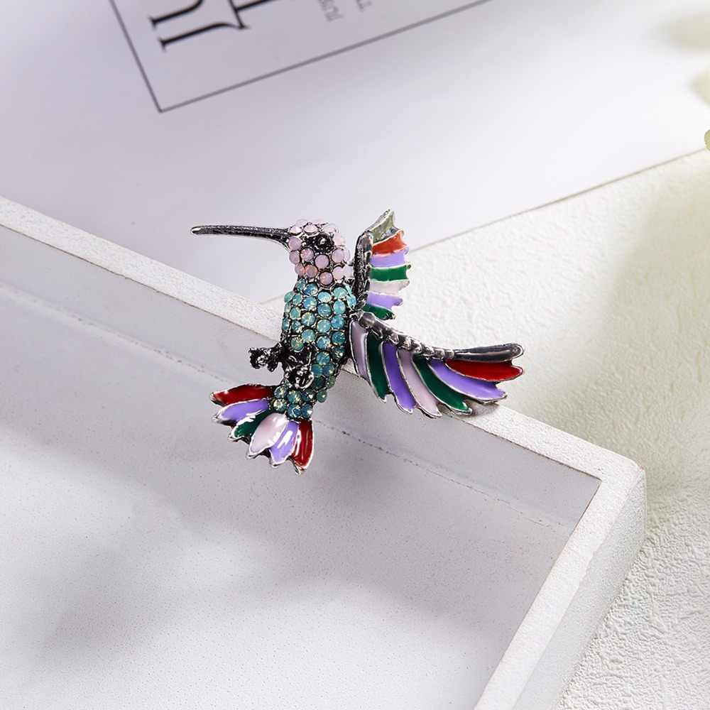 Baru Fashion Hewan Burung Hantu Lucu Hummingbird Multi Warna Berlian Imitasi Menggambar Minyak Bros Selendang Kristal untuk Wanita Gadis Hadiah