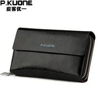 Perfect Quality Double Zipper Layers Business Clutches Long Genuine Leather men wallets Luxury Oil Wax Cowskin Men Clutch Bag