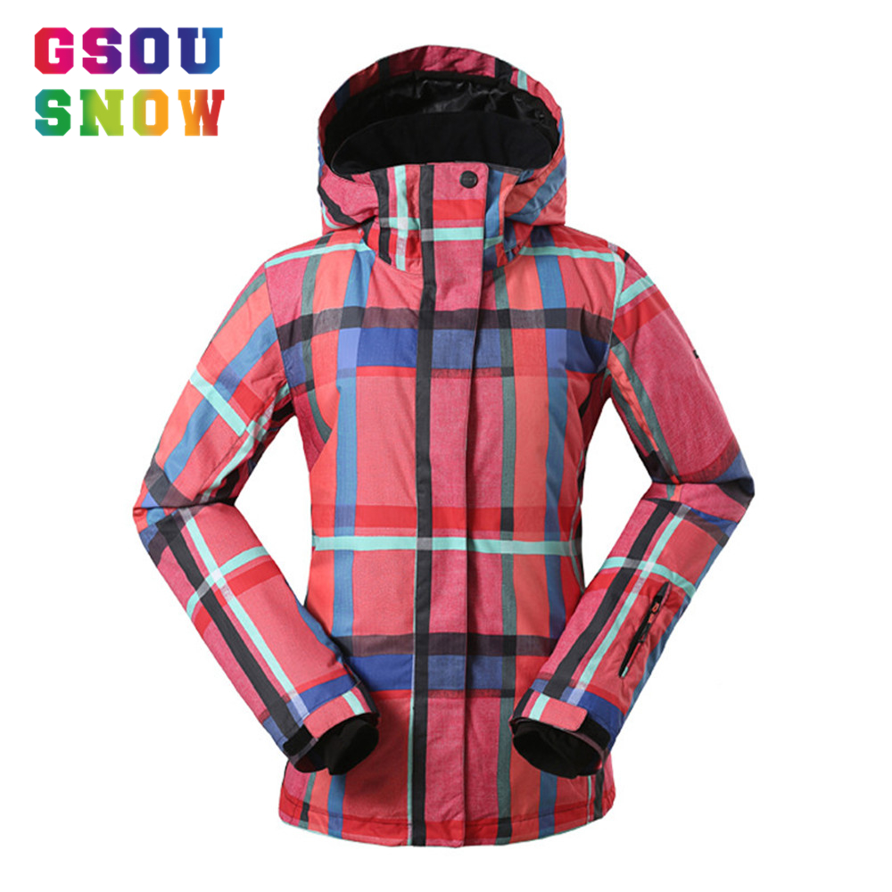 Gsou Snow Women Ski Jacket Thermal Retro Printed Winter Hooded Snow Coats Female Snowboard Jackets Waterproof Windproof Skiwear gsou snow ladies waterproof ski jacket womens ski jackets and coats snowboard jacket winter coat windproof free shipping