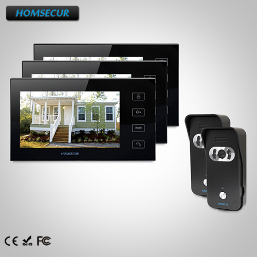 HOMSECUR 7 Wired Video Door Phone Intercom System+Intra-monitor Audio Intercom TC021-B Camera+TM704-B Monitor