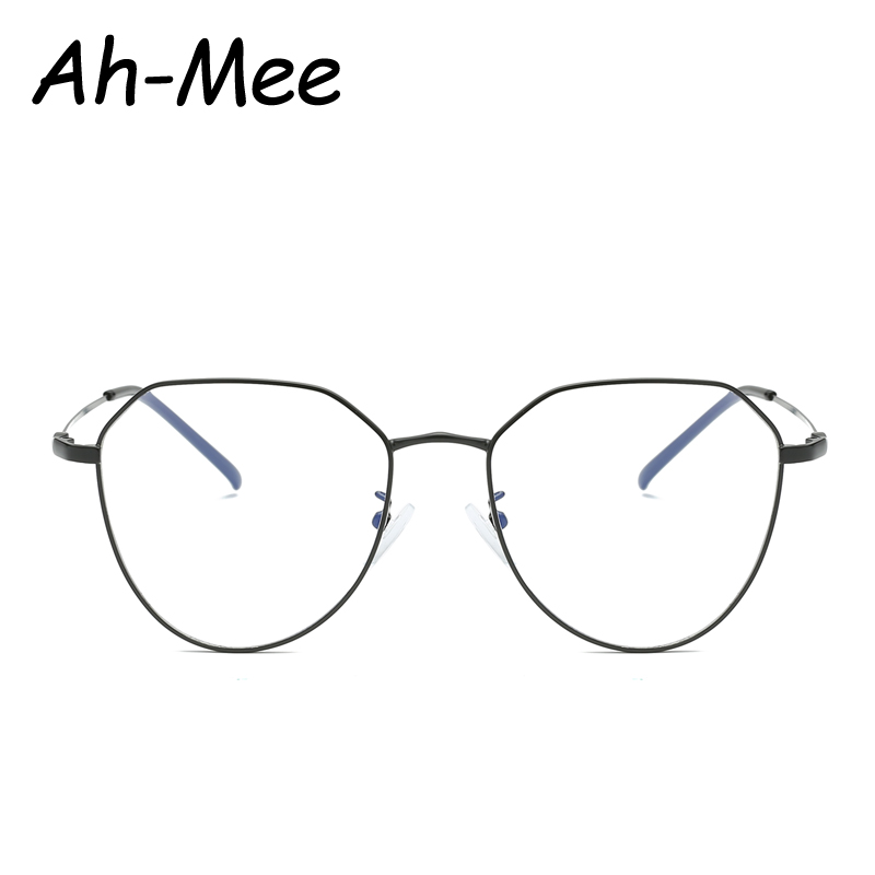 Vintage Black Metal Eyeglasses Optical Frames For Women Female Retro Oval Glasses Computer Glasses Frame Eyewear de grau
