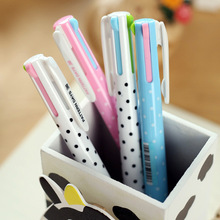 40 Pcs/Lot Dots Ballpoint Pen 4 Color Ink 0.5mm Ballpoint Roller Pens For Marker Writing Stationery Office School Supplies A6525 b 567g hot sale stationery store 0 5mm blue ink ballpoint pen cute flexible pens for student school office supplies 4 pcs