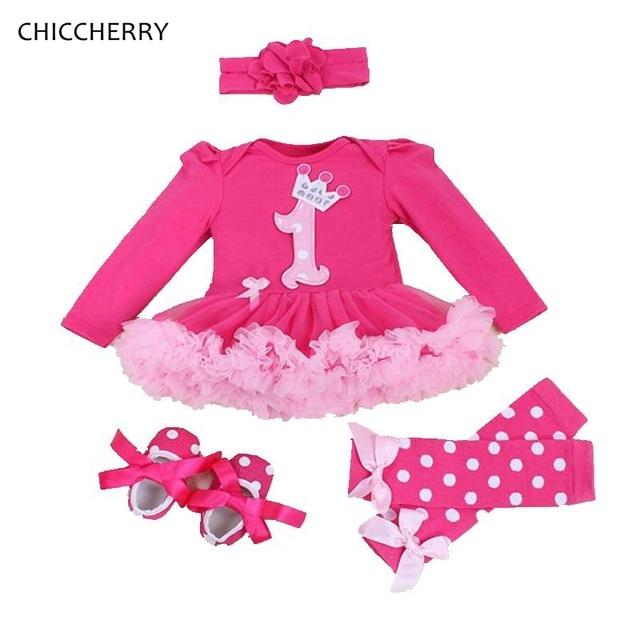 Розовый Кружевной Петти Ползунки Корона 1 Год Рождения Девочка Dress Лук Заставку и Вязаные Гамаши Установить Vestodo Дочь Принцесса Младенческой одежда