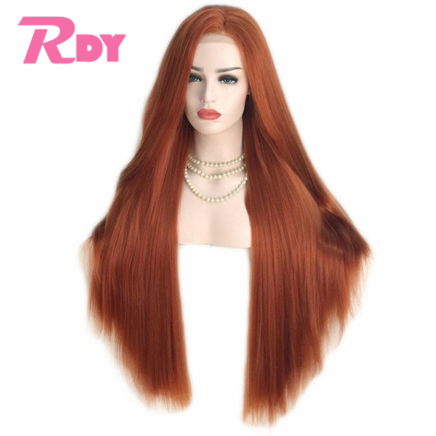 RONGDUOYI 150% Density Orange Straight Hair Side Part Synthetic Lace Wigs Long Silky Straight Lace Front Wigs for Women(China)