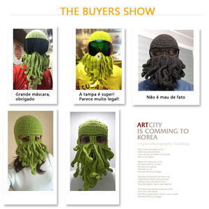 Image 5 - Winter face mask hand woven mask snowboard octopus wool balaclava funny hat warm bonnet homme cap face mask winter casual cap