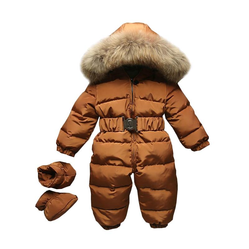 Hiver bébé barboteuse onesie manteau infantile enfants Snowsuit vêtements de dessus nouveau-né fille garçons combinaison neige porter salopette fourrure capuche