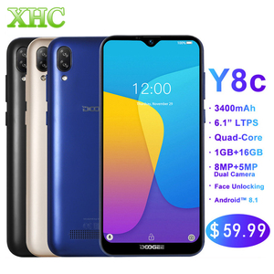 Image 1 - Original DOOGEE Y8C Android 8.1 6.1inch Waterdrop Screen Smartphone MTK6580 Quad Core 1GB RAM 16GB ROM  Dual SIM 8MP+5MP WCDMA