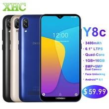 Originale DOOGEE Y8C Android 8.1 da 6.1 pollici Waterdrop Schermo Dello Smartphone MTK6580 Quad Core 1 GB di RAM 16 GB di ROM Dual SIM 8MP + 5MP WCDMA