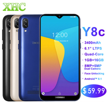 Orijinal DOOGEE Y8C Android 8.1 6.1 inç Su Damlası Ekran Smartphone MTK6580 Dört Çekirdekli 1 GB RAM 16 GB ROM Çift SIM 8MP + 5MP WCDMA