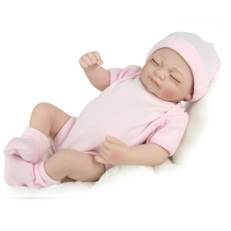 28cm Real Looking Newborn Bebes Silicone Reborn Dolls Mini Realistic Bebe Reborn Sleeping Babies Girl Toys Cute Birthday Gifts-in Dolls from Toys & Hobbies    1
