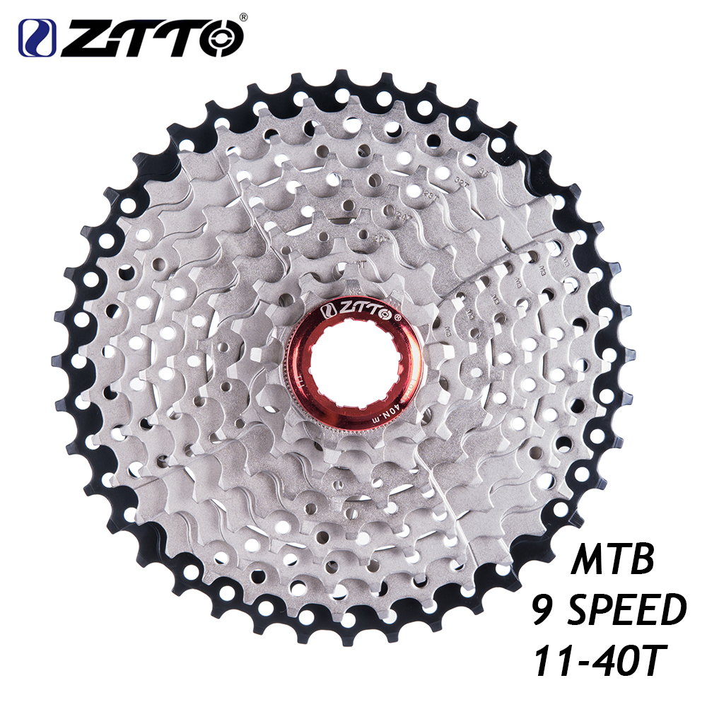 ZTTO 9 Speed Cassette 11-40 T Wide Ratio Freewheel Mountain Bike MTB Bicycle Cassette Flywheel Sprocket Compatible with Sunrace