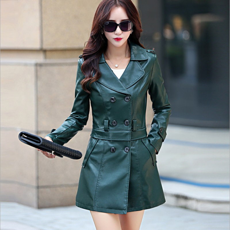 Qulity 2018 Spring Autumn Korean Slim PU   Leather   Trench Coat Women Hem Detachable Biker Jacket Fashion Mid-Long Motorcycle Coat