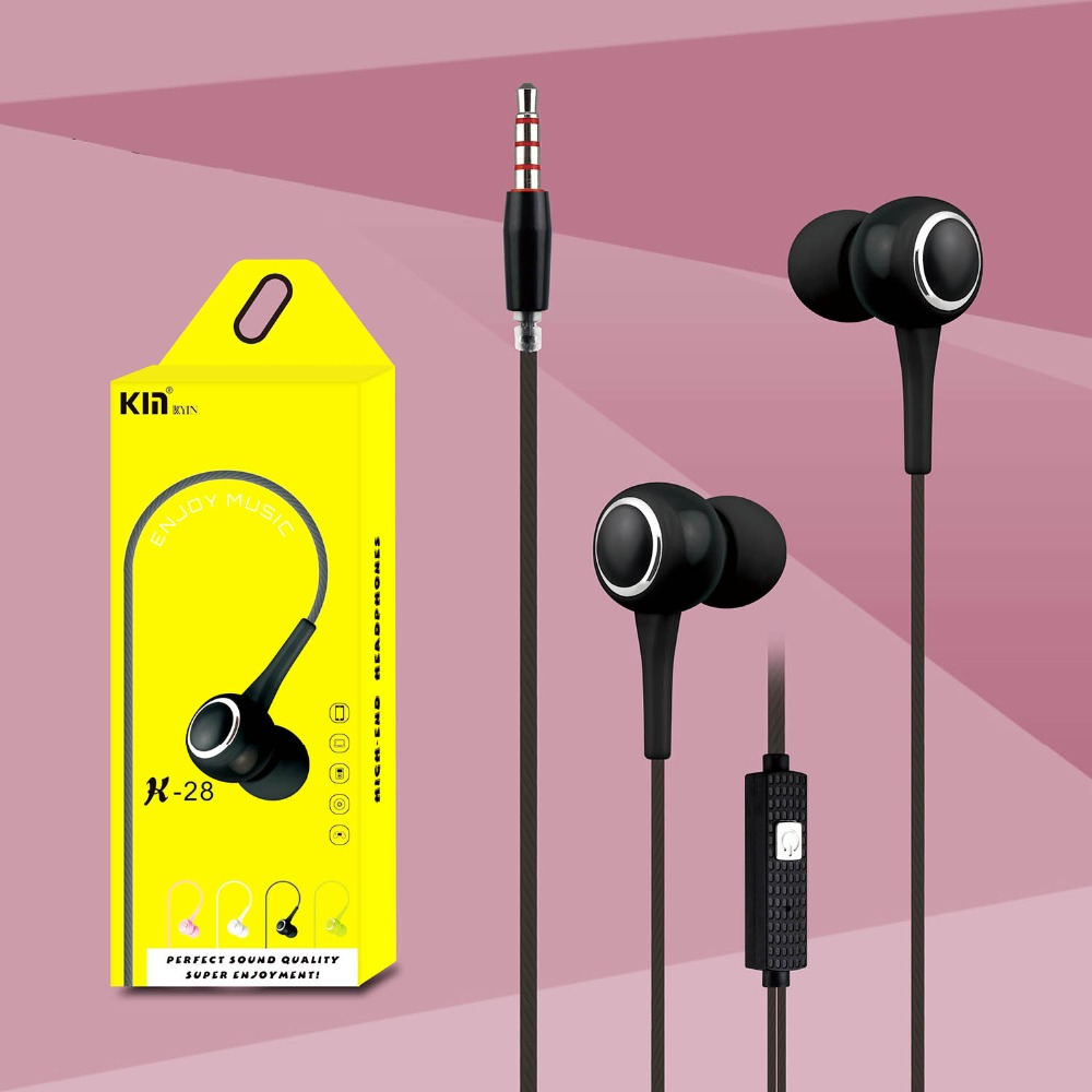Earphone with Microphone 3.5mm Wired In-Ear Stereo Bass Earphones 1.2m Sport Music Headset for ipod mobile phone MP3 MP4 MP5