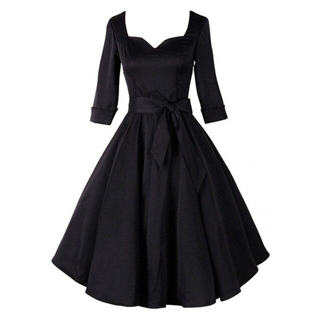 Autumn Winter Audrey  Hepburn Style 40s 50s 60s 80s Vintage Retro Half  Sleeve Black Rockabilly Pinup Swing Wedding Party Dresses e9d5e525a5db
