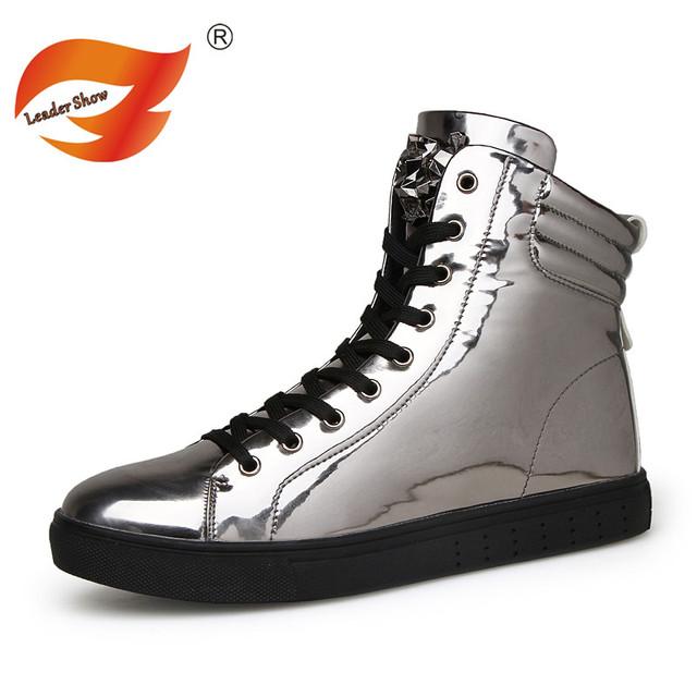 Nuevo Llegado Hombres Botas Cómodas de Invierno Calidad Botines de Moda Casual Hombres Zapatos de Nieve Botas de Invierno de Cuero Negro de Plata