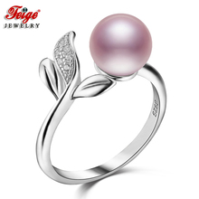 Feige 925 Sterling Silver Finger Ring Cute Style Accessories 7-8mm Purple Freshwater Pearl Rings for Women Anillos Fine Jewelry