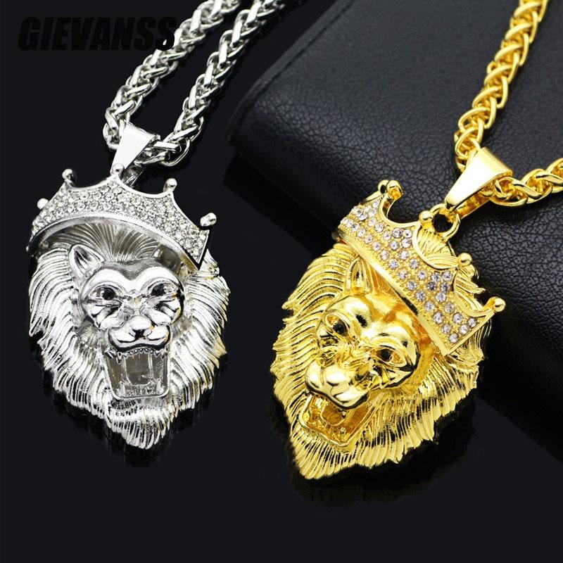 Jewelry Men Hip Hop Women Pendant Bling Lion Head Crystal Necklace