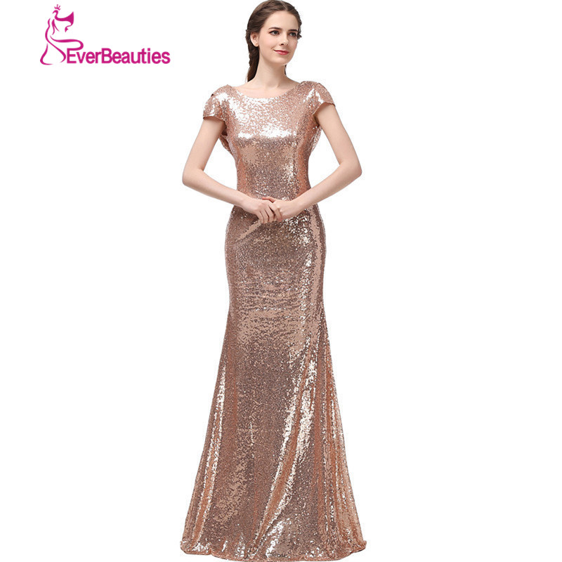 Champagne long vestido longo sequined short sleeve floor for Dresses for wedding party