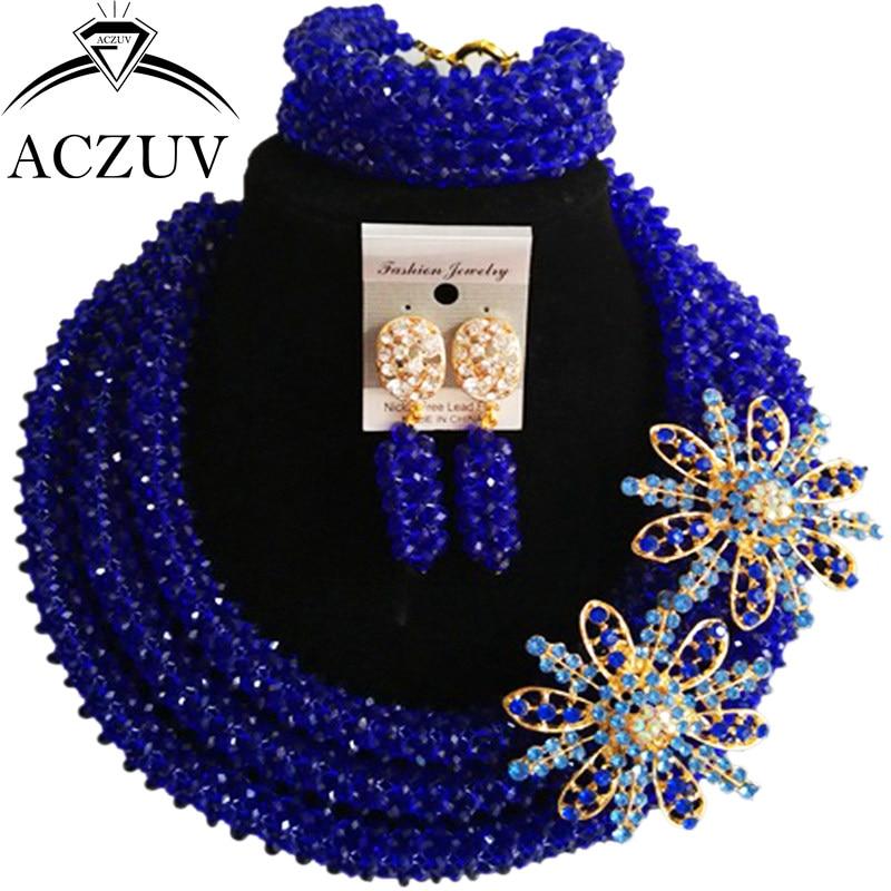 ACZUV Latest Royal Blue Crystal Beaded African Jewellery Designs Nigerian Wedding Beads Jewelry Set B3R023 стоимость