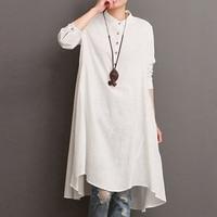 Dress Casual O Neck Wear Women'S Fashion Long Sleeve Linen Elegance Solid Colour Women High Low Hem Everyday Standing Collar
