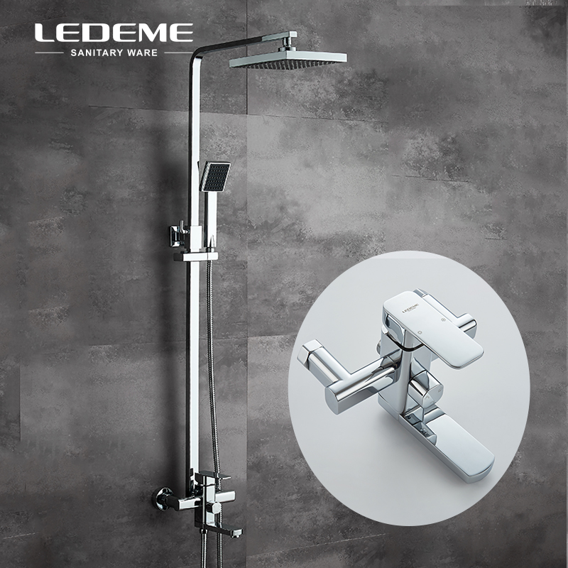 LEDEME Chrome Finished Square Bath Shower Faucet Sets with Big Rainfall Shower Head and ABS Handhead