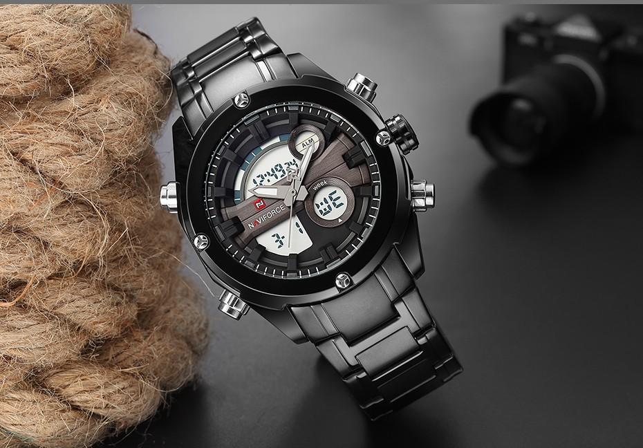Top Luxury Brand NAVIFORCE Men Full Steel Sport Watches Men's Quartz Analog LED Clock Man Military Wrist Watch Relogio Masculino 6
