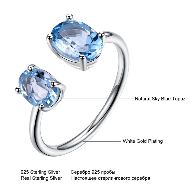 UMCHO 10.7ct Natural Sky Blue Topaz Gemstone Solid 925 Sterling Silver Engagement Adjustable Rings For Women Fine Jewelry