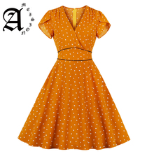 Ameision Elegant Style Pink Orange Tiny Print Women Retro Dress Sexy V Neck Short Sleeves Pockets Women Vintage Dresses Vestidos army green side pockets v neck short sleeves camouflage dress