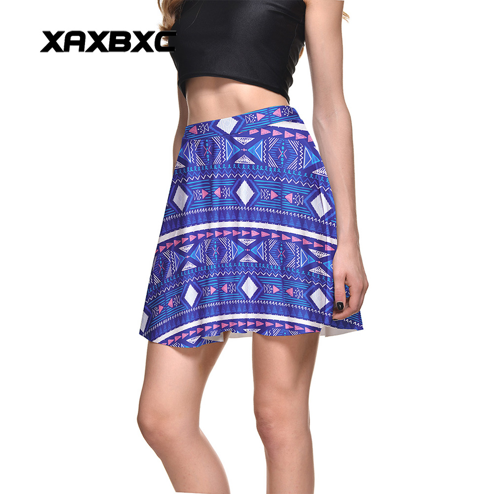 NEW 1284 Summer Sexy Girl Diamonds Triangle Stripe Printed Cheering Squad Tutu Skater Women Mini Pleated Skirt Plus Size