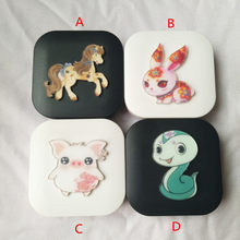 LIUSVENTINA DIY Acrylic Cute Chinese Zodiac Horse Snake Pig Rabbit Contact Lens Case With Mirror Box Container for Color Lenses(China)