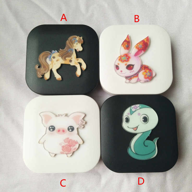 LIUSVENTINA DIY Acrylic Cute Chinese Zodiac Horse Snake Pig Rabbit Contact Lens Case With Mirror Box Container for Color Lenses