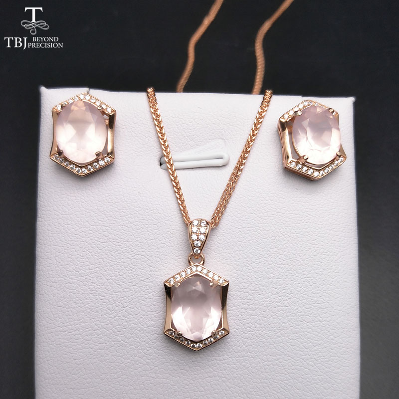 TBJ Adjustable wedding Pendant earring jewelry set  Natural 7ct Gemstone Rose Quartz 925 Sterling Silver Fine Jewelry For Women