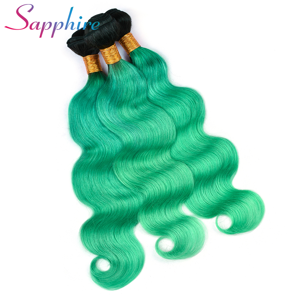 Sapphire Hair Brazilian Body Wave Human Hair Bundles with Frontal Closure Ombre Remy Hair TB/Green Human Hair Bundles