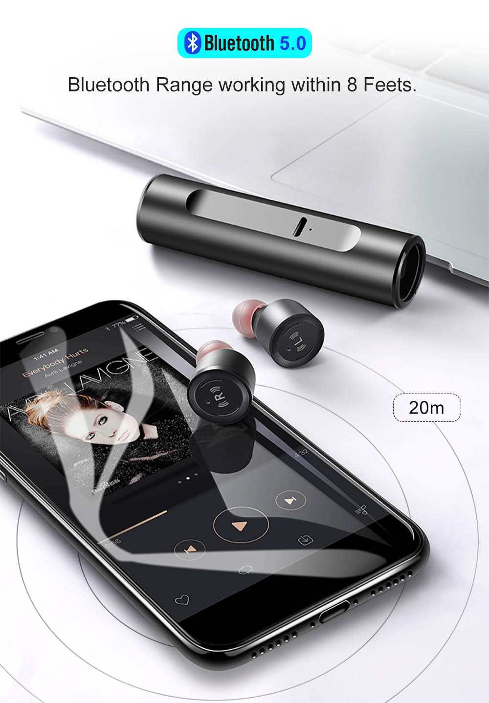 VONTAR S5 Mini IPX67 écouteurs Bluetooth 5.0 Casque Avec Métal Boîte de Charge
