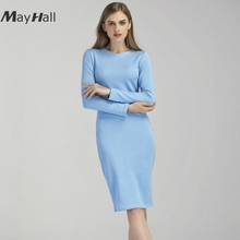 MAYHALL Spring and summer new womens Long Sleeve casual dress Knee Length pencil  MH008