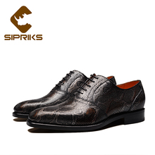 Sipriks Italian Handmade Embossed Leather Formal Shoes Mens Goodyear Welted Shoes Dark Wine Red Python Shoes For Men Snake Skin
