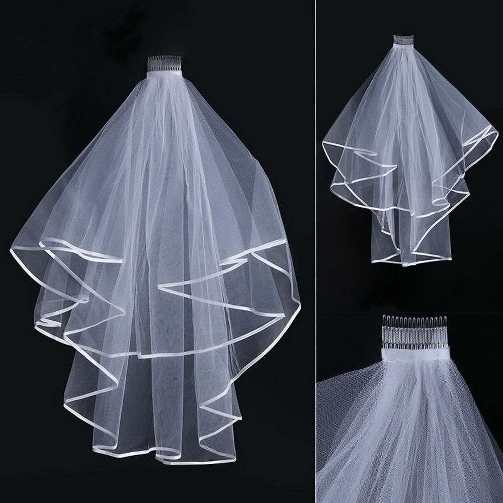 Wedding Veil White Ivory Bridal Two Layers First Holy Communion Comb Hen Party