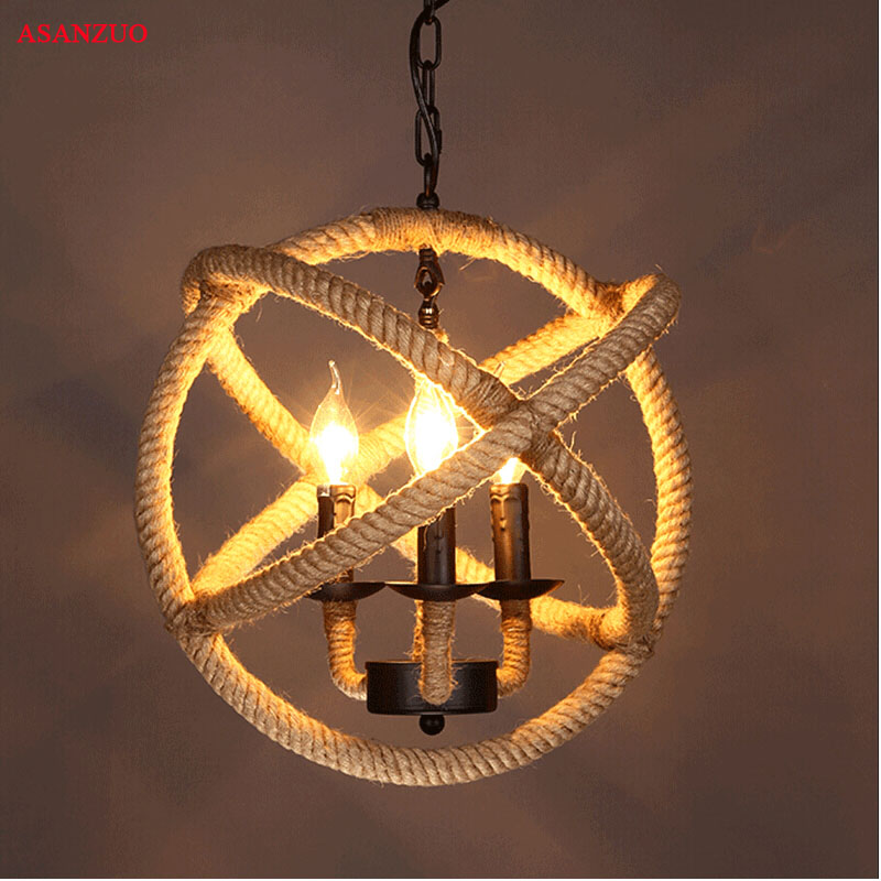 Retro Hemp Rope Iron Pendant Lights Vintage Hemp Cord Hanging Lamp For Cafe Bar Restaurant Ball Shape LED Haning Light Lamps E27 ascelina american retro pendant lights industrial creative rustic style hanging lamps pendant lamp bar cafe restaurant iron e27