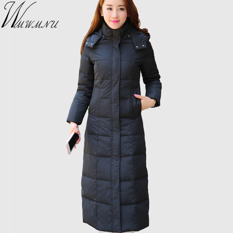 Wmwmnu 2017 Winter down jacket Women X-Long Women Parkas Hooded Down Parka Female Outwear Women's Warm Slim Jackets and Coats стоимость