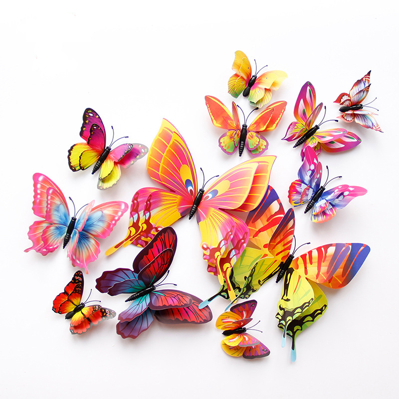 New style 12Pcs Double layer 3D Butterfly Wall Sticker on the wall Home Decor Butterflies for decoration Magnet Fridge stickers(China)