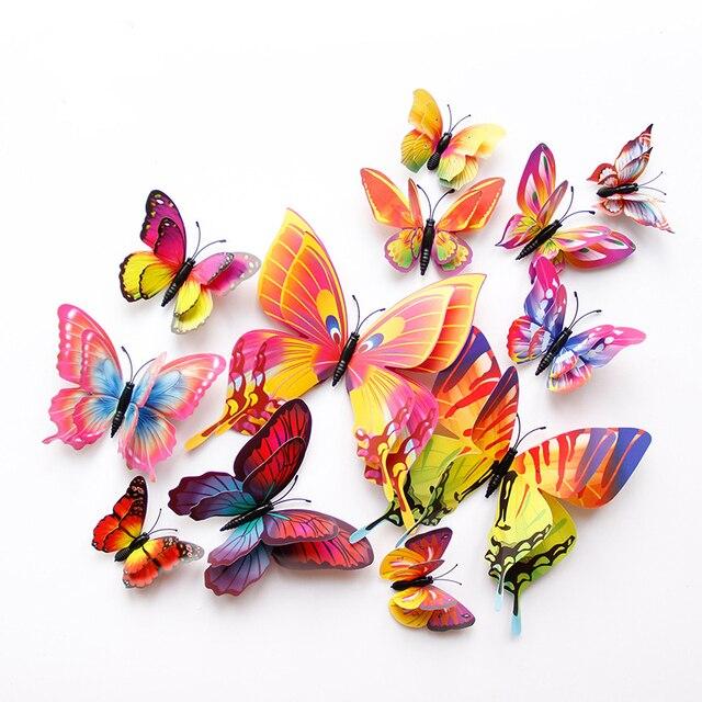 New style 12 Pcs Double layer 3D Butterfly Adesivos de Parede na parede Home Decor Borboletas para decoração Imã de Geladeira adesivos