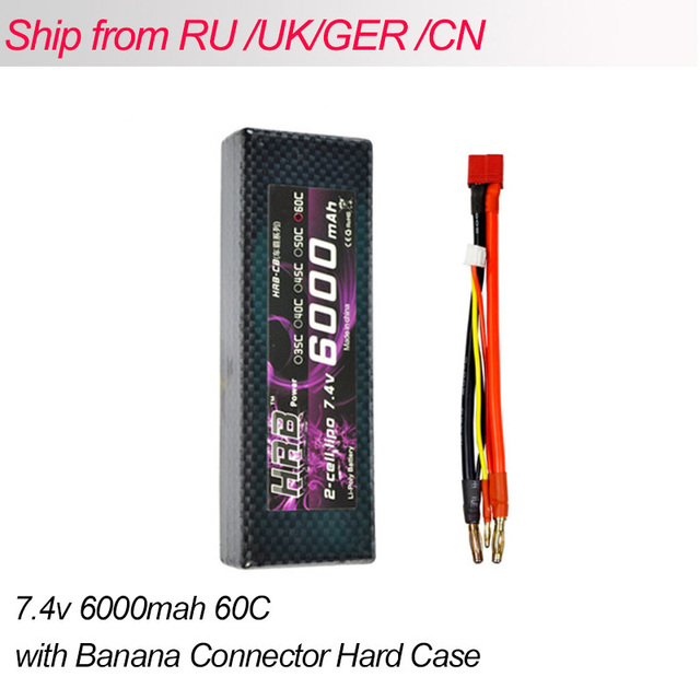 HRB Lipo 2S Battery 7.4V 6000mah 60C Max 120C Hard Case Banana Connector RC Battery For RC Car Truck Quadcopter Helicopter