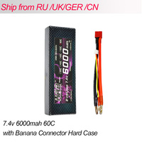 HRB Lipo 2S Battery 7.4V 6000mah 60C Max 120C T plug to 4.0mm Bullet Hard Case Banana Connector RC Battery For RC Car RC Parts