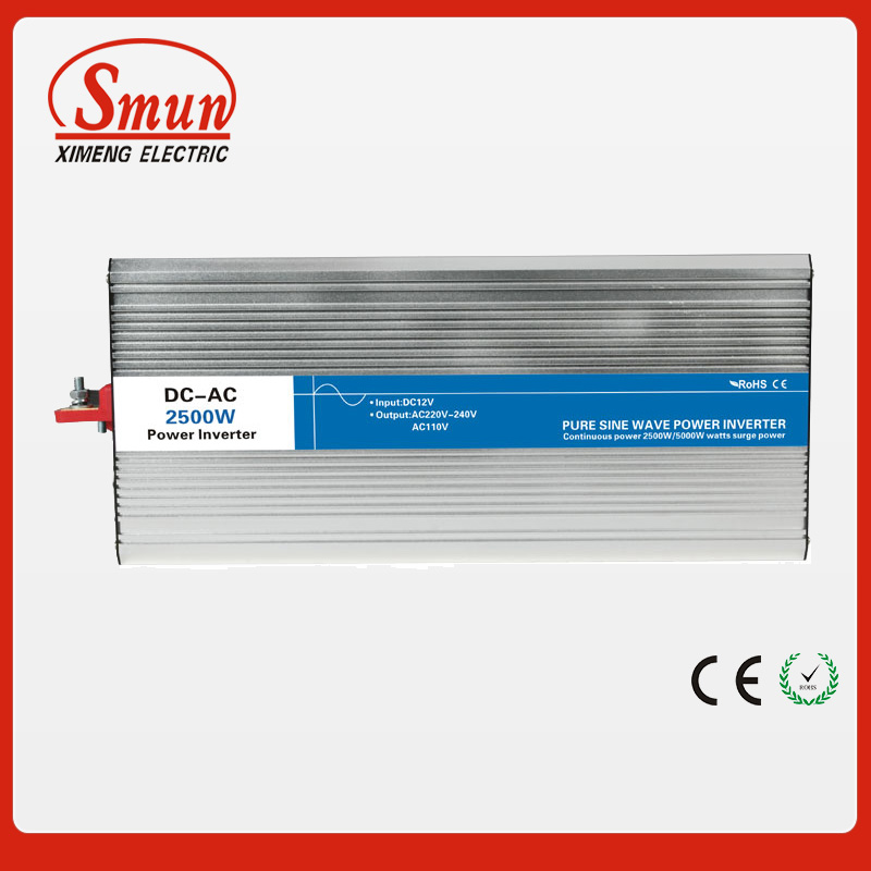 2500W 12VDC to 220VAC pure sine wave inverter with 20A AC charge for solar panel and home appliances