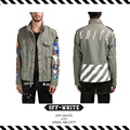 Best Version New Arrival 16 Fall Winter Off White Badge Embroidery M65 Tooling Military Wind Jacket  trench coat men windbreaker