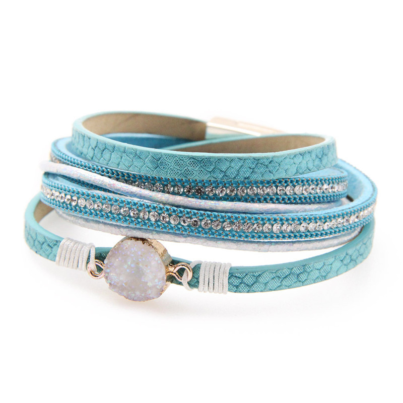 Jewelry Bracelets for Women Multi Layer Leather Winding Bracelet Braided Wrap Cuff Bangle Magnetic Clasp Handmade Girl Gift in Chain Link Bracelets from Jewelry Accessories